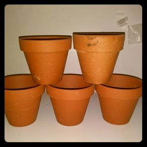 Small planter pottery set of 5 Clay pots